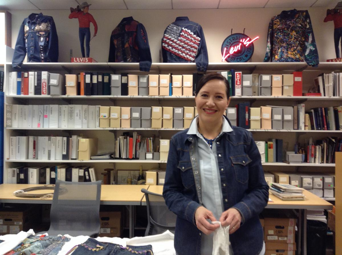 Historian Tracey Panek, in 'her' Levi's archives in San Francisco