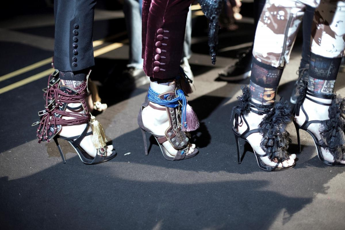 High heels and lots of fringes at DSquared