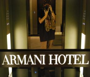 Me in the elevator of the Armani Hotel in Milan